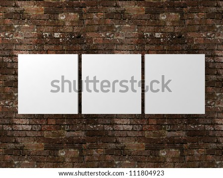 white photo frames on dirty old brick wall - stock photo