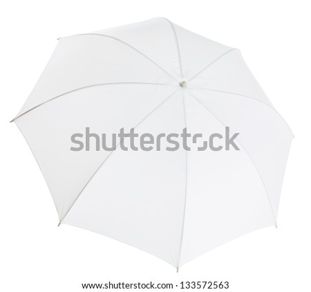 white photo umbrella isolated with clipping path included - stock photo