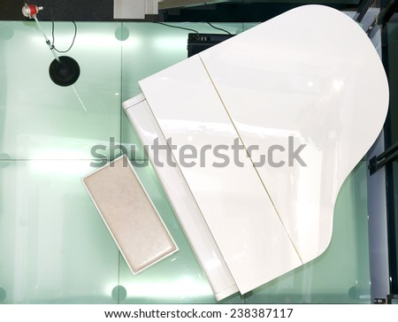 white piano top view - stock photo