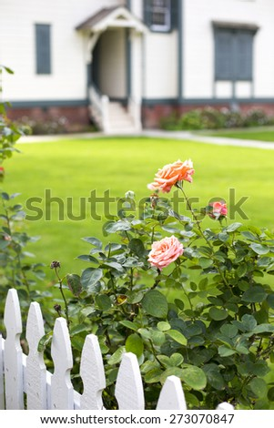white picket fence with roses and an entrance - stock photo