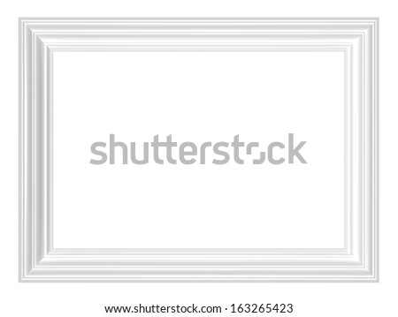 White picture frame. Computer generated 3D photo rendering. - stock photo