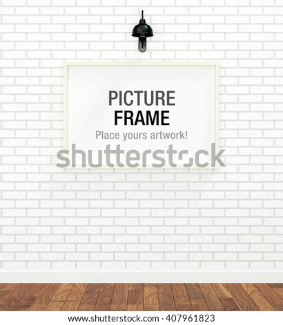 White picture frame display on white brick wall (3D rendered image) - stock photo