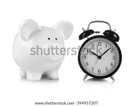 White piggy bank and clock isolated on white - stock photo