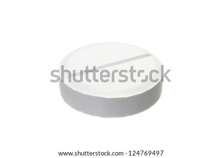 White pill of classic round shape isolated on white background - stock photo