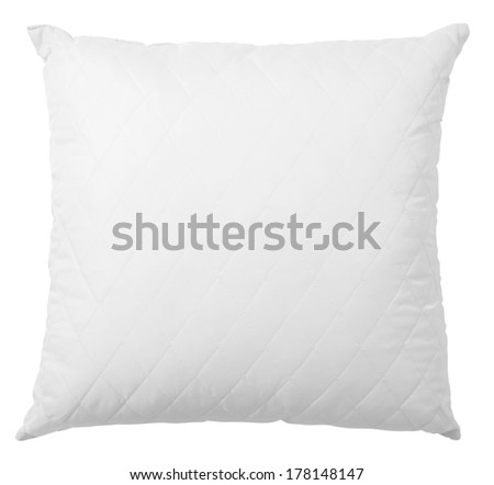 white pillow isolated with clipping path included - stock photo