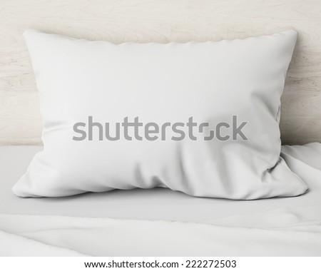 white pillow on the bed, background - stock photo