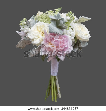 White Pink Peony and Garden Rose Bridal Bouquet isolated on grey background - stock photo