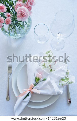 White Pink Table Setting - stock photo