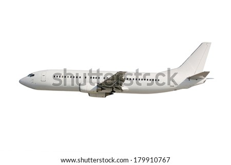 White plane on white background in flight - stock photo