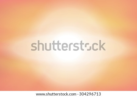 White planet with ring orange apricot pastel blurred misty abstract background - stock photo