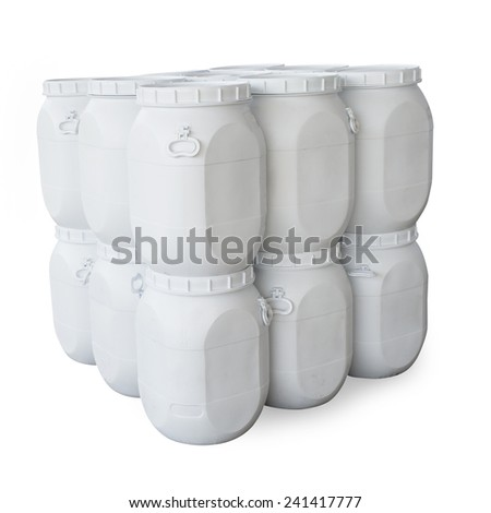 White plastic barrels containing chemicals (with clipping path) - stock photo