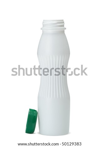 White plastic bottle. It is isolated on a white background - stock photo