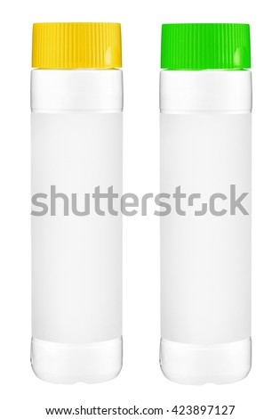 White plastic bottles with yellow and green cap for cleaning laundry detergent or bleach isolated on white background - stock photo