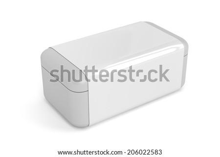White plastic box on white background - stock photo