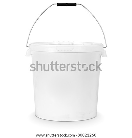 white plastic bucket isolated on white - stock photo