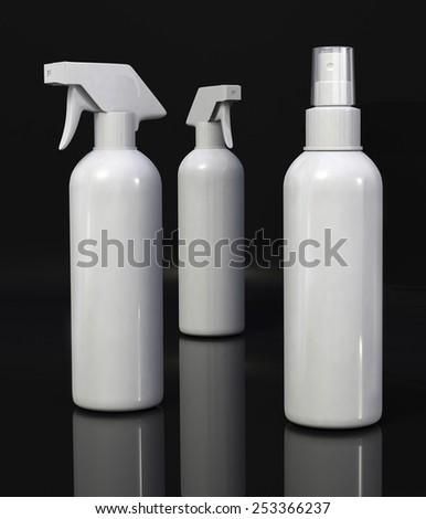 White plastic cleaning spray bottle on black background - stock photo