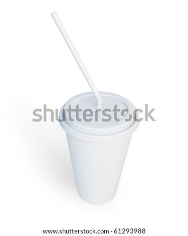 White plastic cup and straw isolated on a white background - stock photo