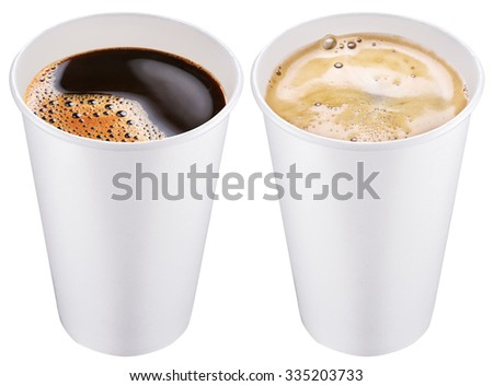 White plastic cup. File contains 2 clipping paths. - stock photo