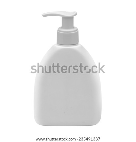 white plastic dispenser isolated on white  - stock photo