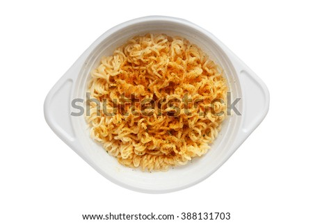 white plastic disposable plate with Instant noodles on a white background - stock photo