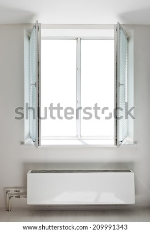 White plastic double door window with radiator under it. Domestic room. Isolated window aperture  - stock photo