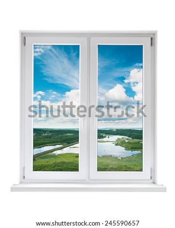White plastic double door window with tranquil view through glass. Isolated on white background. - stock photo