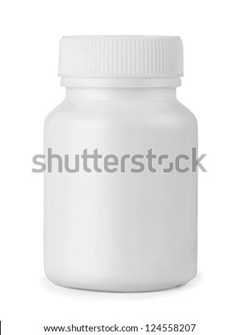 White plastic medicine bottle isolated on white - stock photo