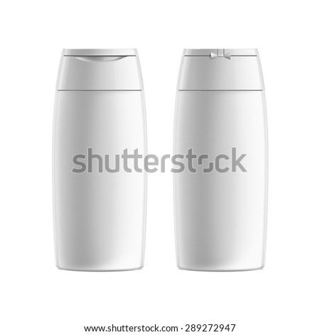 White Plastic Shampoo or Shower gel Bottle. Cosmetic packaging. Front and Back View. - stock photo