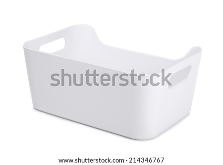 White plastic storage container isolated on white - stock photo