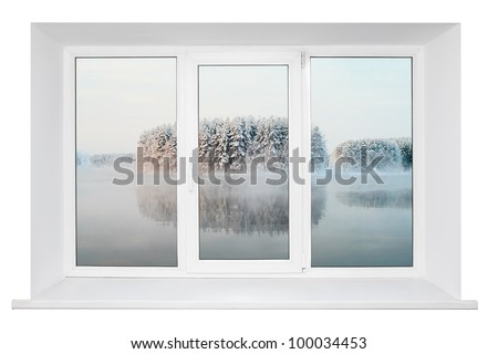 White plastic triple door window with tranquil view through glass. Isolated on white background. - stock photo