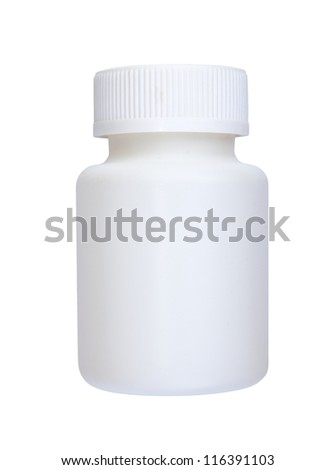 white plastic vial from medications isolated on white background - stock photo