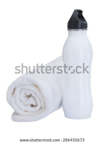 White plastic water bottle with towel for sweat - stock photo