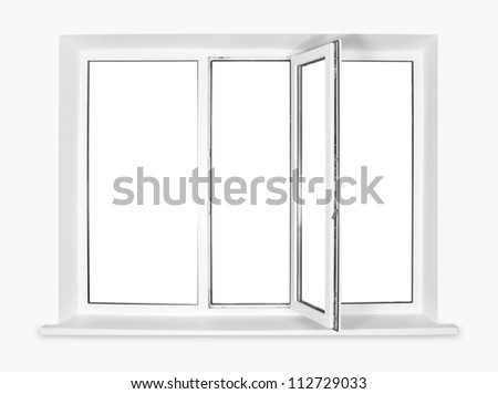 White plastic window isolated on white background - stock photo