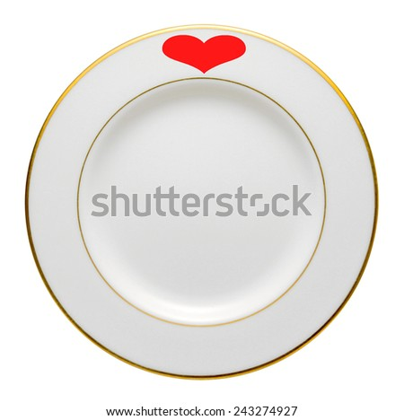 white Plate for valentine wedding etc on white background.  - stock photo