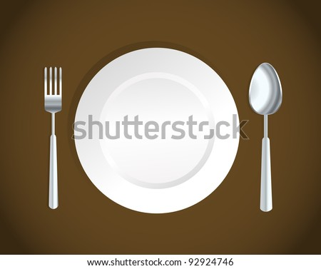 white plate,fork and spoon - stock photo