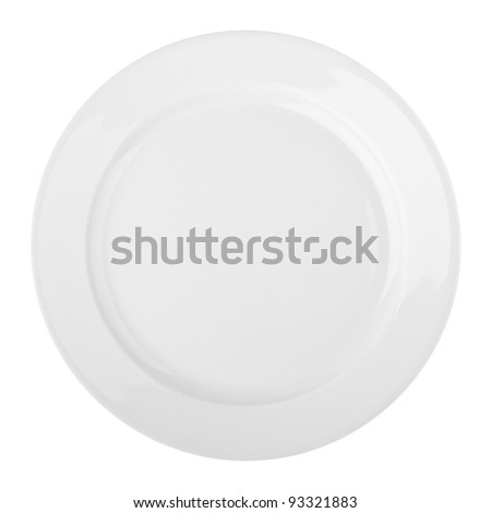 White plate isolated on a white background - stock photo