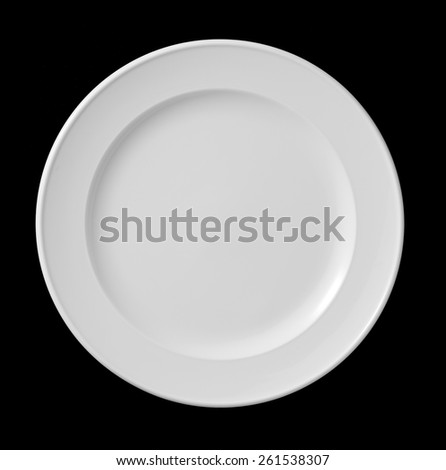 white plate on black background - stock photo