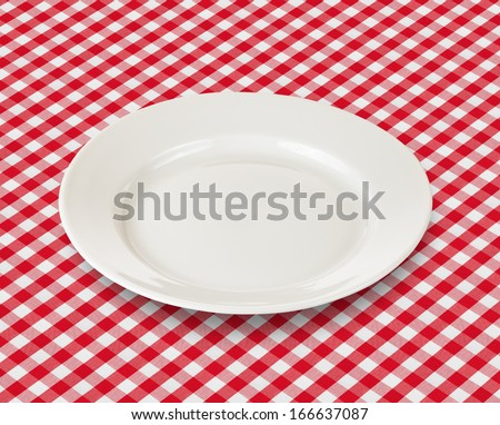 white plate over red checked picnic tablecloth - stock photo