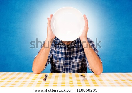 White plate over the head - stock photo