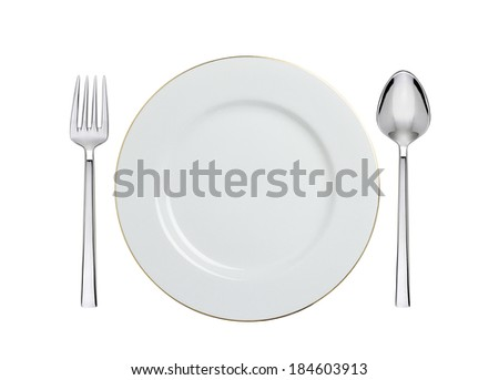 white plate, spoon and fork isolated on white - stock photo