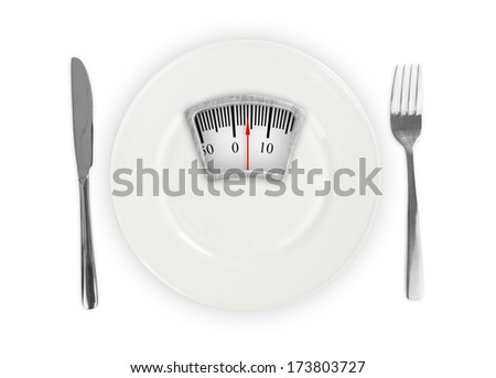 White plate with weight scale - stock photo