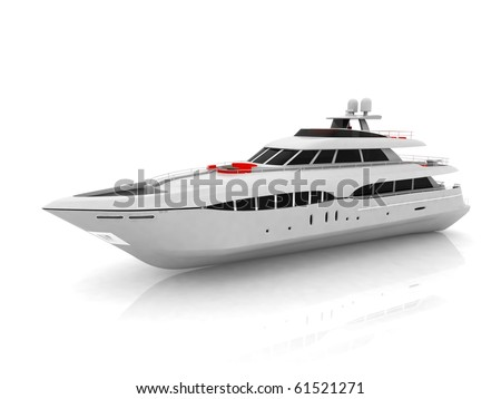 White pleasure yacht isolated on a white background - stock photo