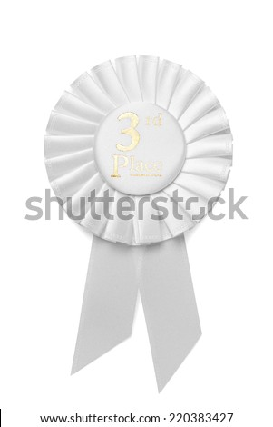 White pleated ribbon rosette with central text for 3rd Place in a competition or race isolated on white - stock photo