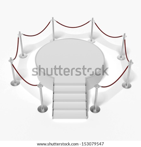 White podium in gallery - stock photo