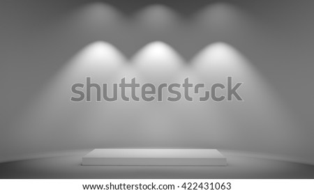 White podium on grey background. Exhibition pedestal and light from lamps on wall. 3D illustration - stock photo