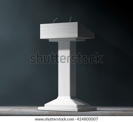 White Podium Tribune Rostrum Stand with Microphones in the volumetric light on a black background. 3d Rendering - stock photo