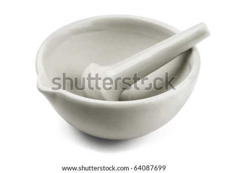 White porcelain mortar and pestle isolated on white - stock photo