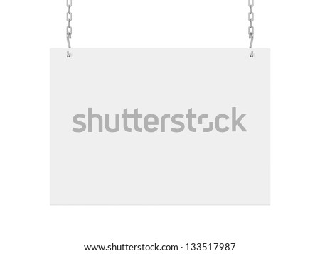 white poster hanging on chain on wall - stock photo