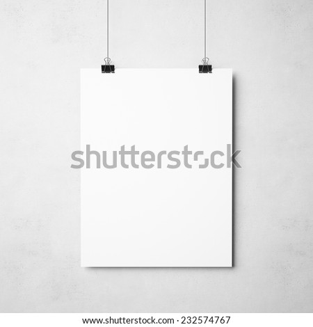 white poster on concrete background - stock photo