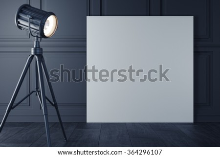 White poster with retro floor lamp with warm light, on classic wall template. 3d rendering - stock photo